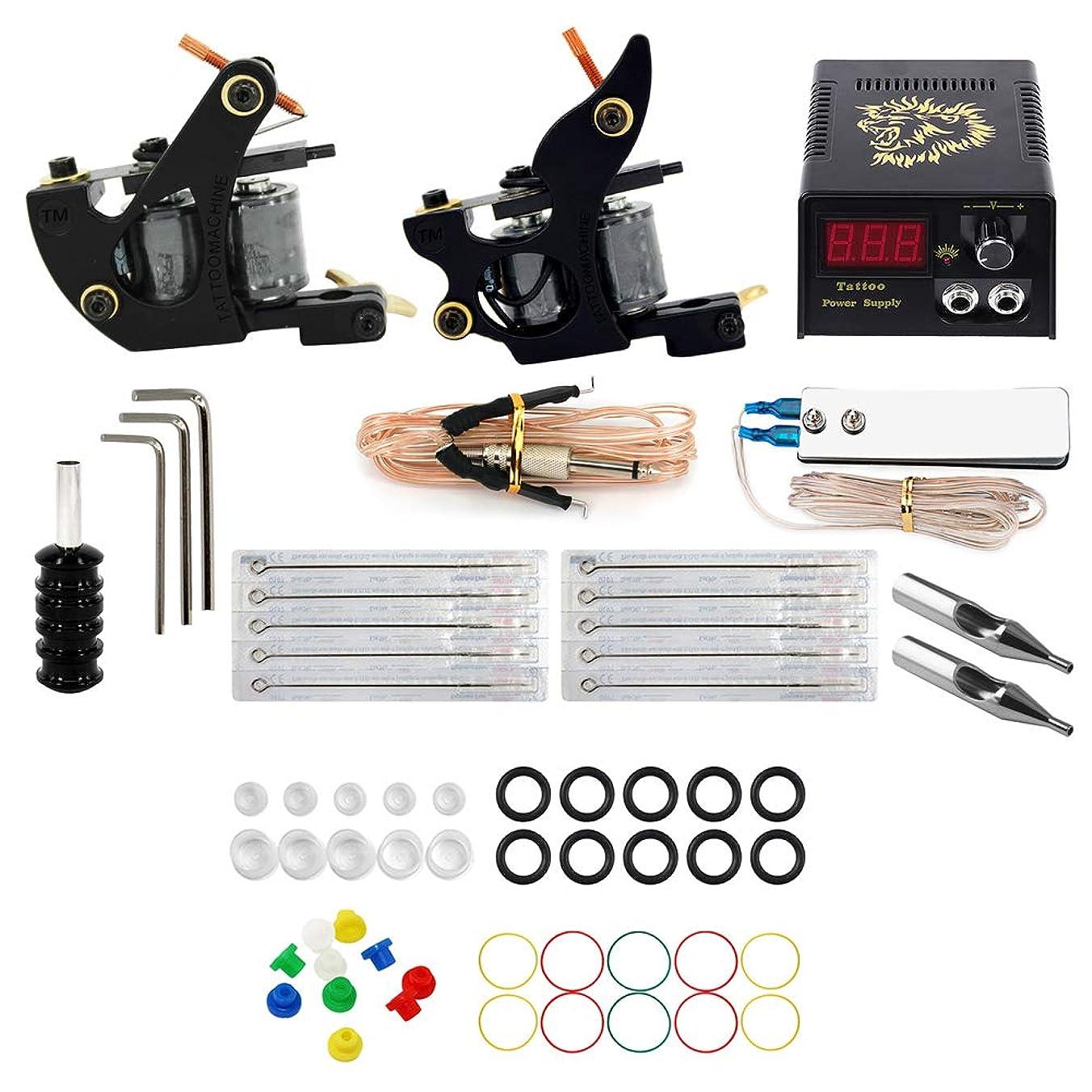 電極葉を集めるリンス初心者タトゥーマシンセット、ファッション2タトゥーマシン10タトゥー針のフルセット、59アクセサリー練習ツール