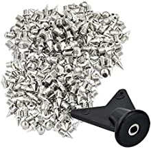 """Wobe 200 Pcs 1/4 Inch Stainless Steel Spikes with 1 Pcs Spike Wrench, 0.25"""" Length Track and Cross Country Spikes Shoe Replacement Spikes for Sprint Sports Short Running Shoes Silver Color"""
