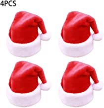 GXOK 2/4PCS Short Plush Christmas Red Riding Hood Santa Novelty Christmas Hat Xmas Ornament Gifts