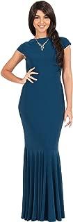 KOH KOH Womens Long Cap Sleeve Elegant Formal Sexy Evening Cocktail Maxi Dress
