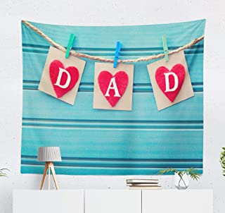 Aactwon Wall Tapestry,Tapestry Wall Hanging Fathers Day Message Hearts Blue Wooden Board Father Dad WallArt for Bedroom WallDecor Tablecloth Dorm Decor 60x50 Inches, Fathers Day