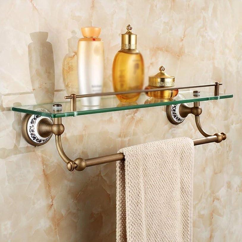 シリンダー群れ使役L.TSAの浴室タオル掛けの浴室の壁に取り付けられたタオル棒レトロな真鍮の二重層のタオル掛け53cm
