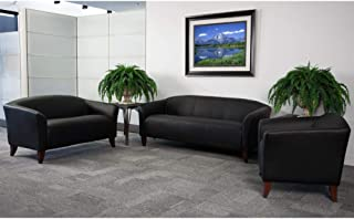 Flash Furniture HERCULES Imperial Series Reception Set in Black LeatherSoft