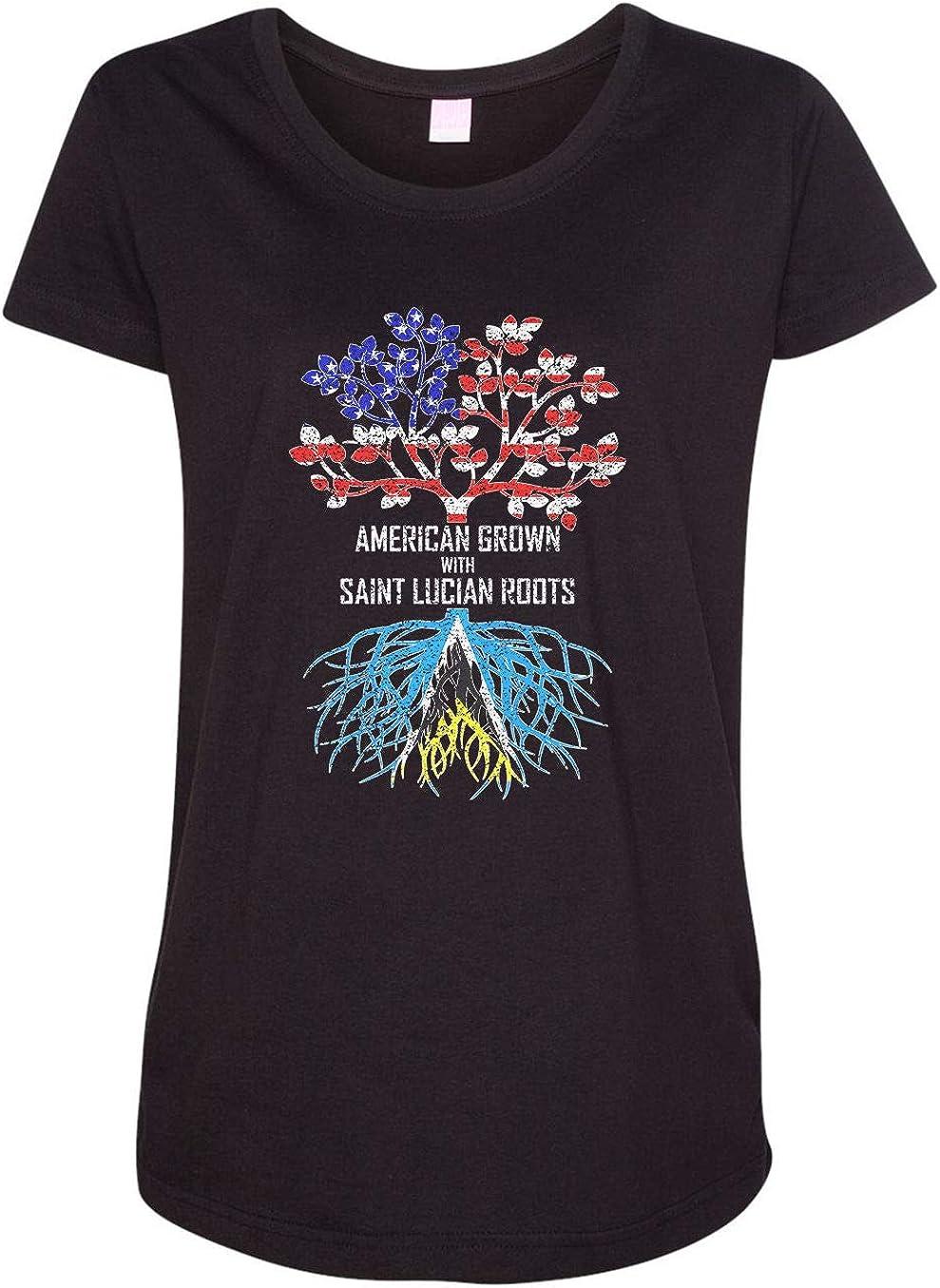 HARD EDGE DESIGN Women's American Grown with Saint Lucian Roots T-Shirt