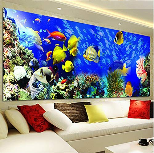 SWECOMZE DIY 5D Diamant Malerei Fisch Ozean, Kristall Strass Stickerei Bilder DIY Diamond Painting für Home Wand-Decor (120 * 45cm)