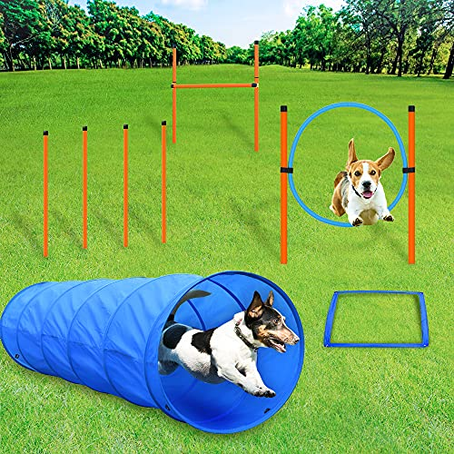 Tresbro Agility für Hunde,agility set,Hindernis-Trainings-Starter-Kit,Hundetunnel,Vier gewebteStangen,Hochsprung,Springring verstellbare Höhe,Pausenbox,Verwendung für Gelegenheitsspiele