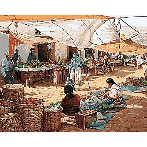 Pintar por Números Kits,Pintar por Numeros para Adultos Niños Comerciantes callejeros DIY Conjunto Completo de Pinturas para el Hogar Decoraciones-With_Framed_50x65cm E2016