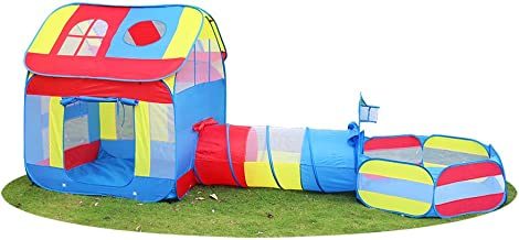 """Children 3 in 1 Playhouse Big Children Play Tent 39.4""""x55""""x134"""" with Crawl Tunnel & Ball Pit Pool Including Basketball Hoop, Foldable Great Gift for Your Kids Backyard or Travel for Indoor and Outdoor"""