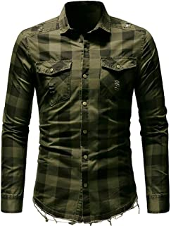 IEason Men's Slim Fit Button Plaid Shirt with Pocket Long Sleeve Tops Blouse