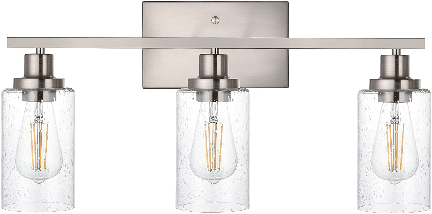 WINSHEN Bathroom Light Fixtures Selling 2021 new 3-Lights Seeded in Glass Brushed
