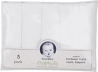 Gerber Prefold Birdseye Organic Diaper, White, 5 Pack (Discontinued by Manufacturer)