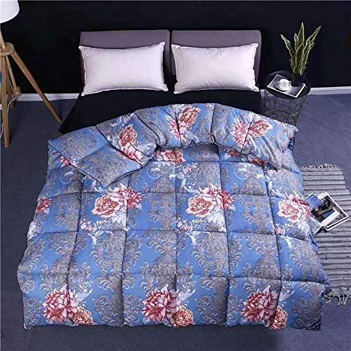 Hahaemall Lightweight Duvet Luxurious Goose Feather Down Quilt, 95% Down King Size Bed Duvet, 100% Cotton Shell, Anti-dust mite & Anti-allergy-blue_200x230cm-3kg