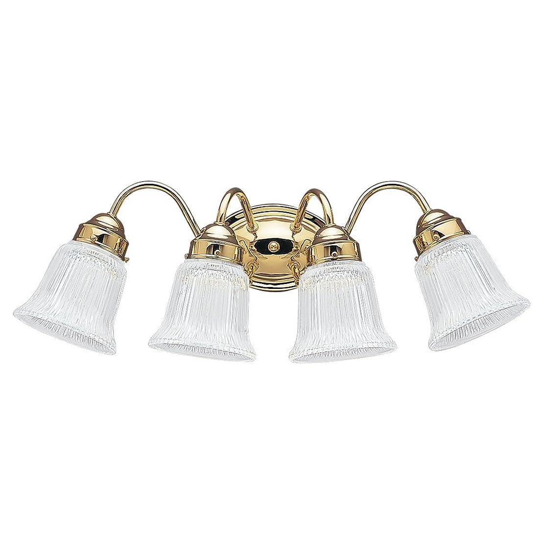 シンプルなプリーツ平らにするSea Gull照明4873?brookchester 4ライト浴室洗面化粧台ライト、 ゴールド 4873-02 1
