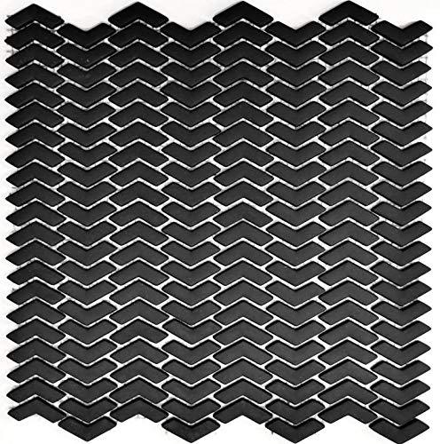 Mozaïektegel ECO recycling glas visgraat enamel zwart mat voor muur badkamer douche keuken tegelspiegel tegelverkleeding badkuip mozaïekmat mozaïekplaat | 10 mozaïekmatten