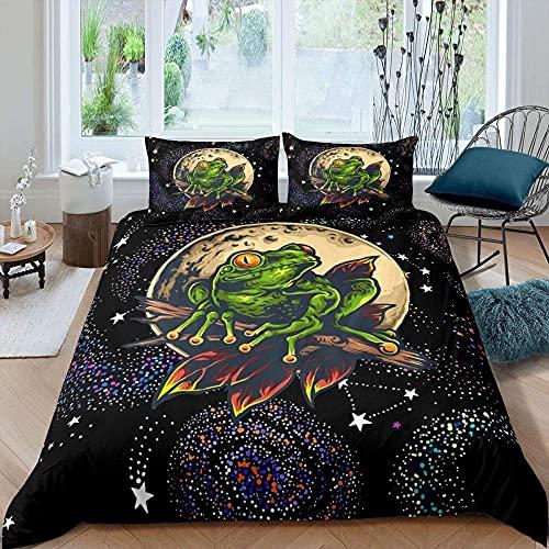 Laubfrosch TröSter Set Regen BäUme Wildtier BettwäSche Set Weltraum Galaxy Bettbezug FüR Kind Jungen Heimtextilien,Haustextilien,3 Teilig (1 Bettbezug 2 Kissenbezug)