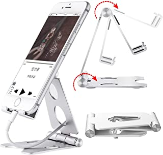 スマホスタンド iphoneスタンド 携帯スタンド 2段角度調整可能 キズ防止 滑り止め keboka 充電スタンド 配線固定 携帯電話, アイフォン iPhone 7 6 6s plus 5 5s Samsung S3 S4 S5 S6 S7 Galaxy S7 S6 Note 6 5 LG Sony Nexus - 銀 シルバー