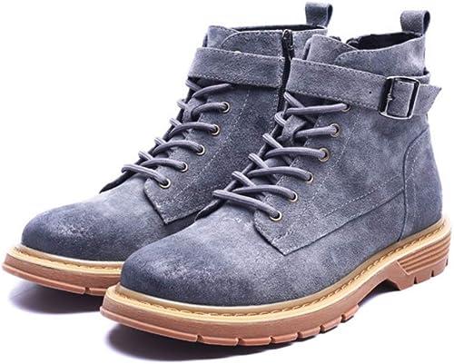 JINHAIXUE Bottes de Travail pour Hommes Bottes d'hiver en Cuir à Lacets avec Fermeture à glissière pour Chaussures de randonnée et Combat