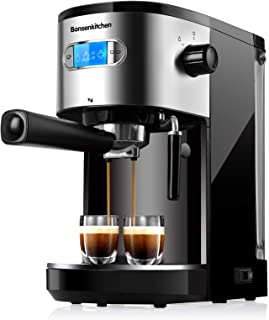20 Bar Espresso Machine Coffee Machine With Foaming Milk Frother Wand 1 Or 2 Shot, 1350W High Performance No-Leaking 1.25 ...