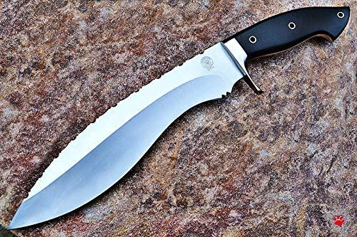 Bobcat Knives Custom Handmade Khukri Kukri Knife D2 Tool Steel Fully Functional with Leather Sheath