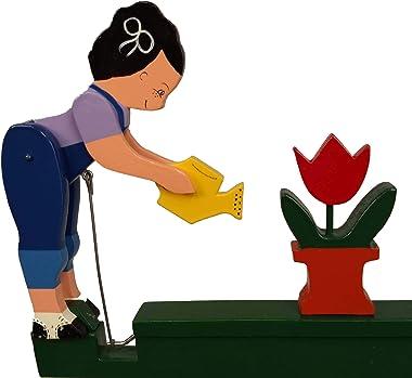 Natures Yard Garden Woman Whirligig Girl Watering Flowers Handmade Made in USA