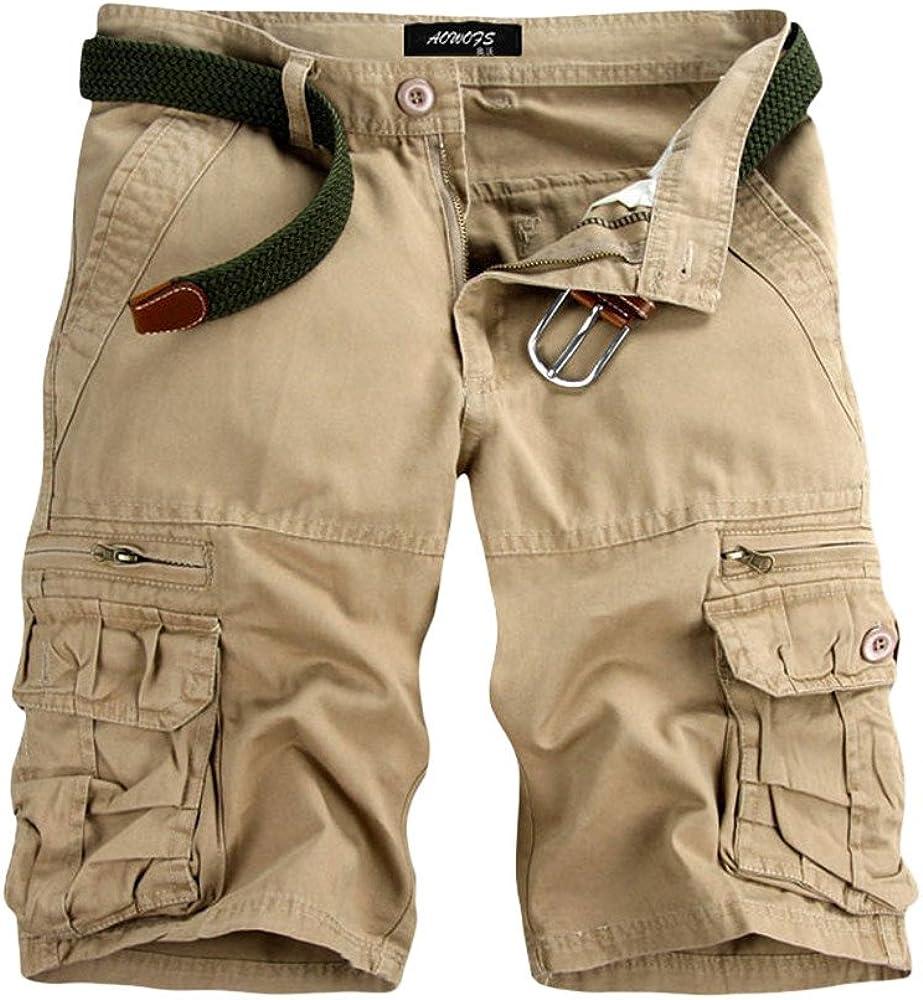 MODOQO Men's Cotton Cargo Shorts, Relaxed Fit Multi-Pocket Cotton Outdoor Wear