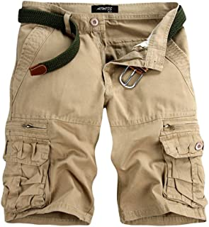 Seaintheson Men's Casual Pure Color Outdoors Pocket Beach Work Trouser Cargo Shorts