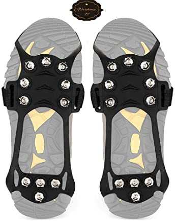 Warehouse77 Anti Slip Stainless Steel Durable Silicone Crampons, for Walking Jogging Hiking Mountaineering Ice Snow Grips,Crampons-11 Teeth Original Heavy Duty Stabilicers Ice Traction Cleat, 1 Pair