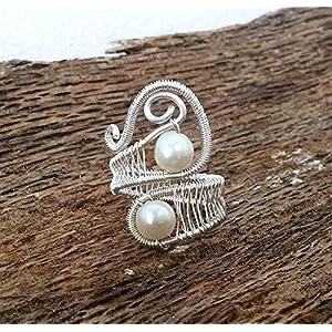 Draht, Gewickelt Ringe, Handgemachter silberner Draht wickelte Schmucksache – Süßwasser-weiße Perlen