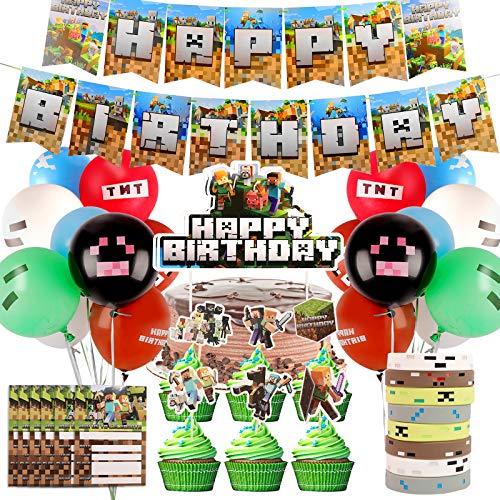 Colmanda Suministros para Fiestas de Videojuegos, Video Game Party Supplies Decoraciones con Banners, Globos de Cumpleaños para Juegos, Gaming Pancarta Globos de Látex Adornos para Tartas (Verde)
