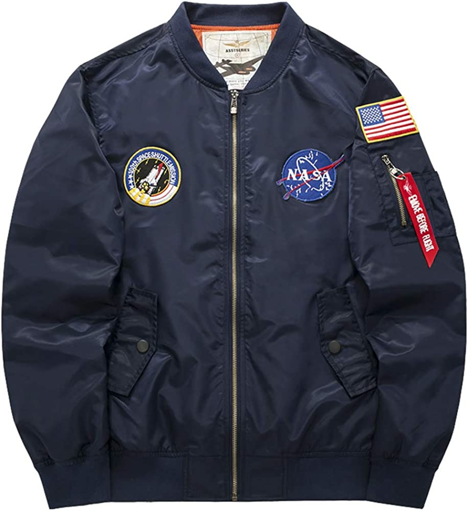 QZUnique Men's Patches Embroidery Flight Bomber Pilot Jacket Windbreaker Military Outwear Coat