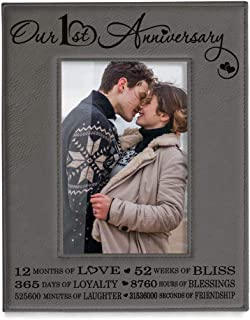 Kate Posh Our First (1st) Anniversary Engraved Leather Picture Frame - Gifts for Couple, Gifts for Him, Gift for Her, Paper, Photo Frame, First Wedding (4x6-Vertical)