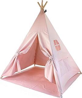 Hej Lønne Barn tipi, rosa tält, ca 120 x 120 x 150 cm stort, lektält med golvtak och fönster, inklusive påse och instrukti...