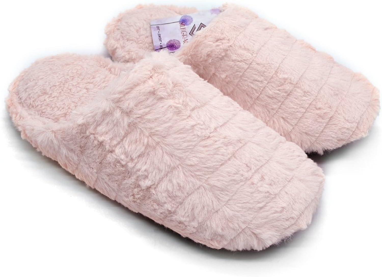 Silkgrace Women's Men's Comfort Shu Velveteen Lining Cozy Velvet Slippers Lightweight Leather Soft Sole