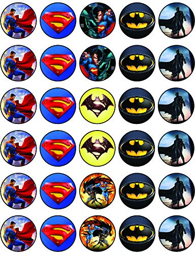30 x Edible Cupcake Toppers –Superman VS Bat-M Themed Collection of Edible Cake Decorations   Uncut Edible on Wafer Sheet