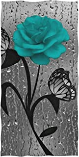 Hotel CHXMA Hand Towels 30x15in Gym and Spa Pattern Watercolor Realistic Anemon Cornflowers Iris Swimming Thin Bathroom Towel Print Soft Highly Absorbent Small Bath Towel for Bathroom