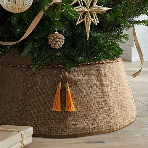 Meriwoods Christmas Tree Collar 25 Inch, Large Burlap Tree Skirt with Tassels, Natural Jute Country Rustic Holiday Indoor Decorations