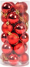 FizzyTech 24pcs 3CM RED Christmas Tree Baubles Balls Decor Ornament Xmas Party Decorations (Red)