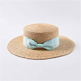 TX GIRL Western Cowboy Hat Beautiful Sun Hat Spring Summer Straw Hat Women Bow Flat Top Wide Hat Beachside Holiday Beach Hat Sun Hat Novelty Party Costumes (Color : Green, Size : 56-58CM)