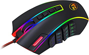 Redragon M990 Legend 24000 DPI High-Precision Programmable Laser Gaming Mouse for PC, MMO FPS, 16 Side Buttons, 5 Programmable User Profiles, 5 LED Lighting Modes (Black)