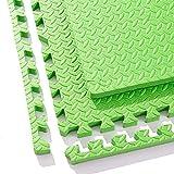 WAHOUM ジョイントマットコルクマットインターロッキングタイルリビングルーム泡フロアマットフリーダムスプライシングEVA、8色、3サイズ (Color : Green, Size : 60X60X1.2CM-9pcs)