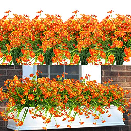 Summer Flower 8 pcs Artificial Mums Flowers For Outdoors,UV Resistant Plastic Fall Faux Flower,Fake Hanging Plants Greenery For Front Porch Window Box Indoor kitchen Decoration (Orange Red)