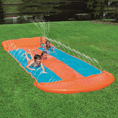 Triple Racer Lawn Water Slide, Slip Slide Play Center with Splash Sprinkler & Inflatable Crash Pad for Kid Children Summer Backyard Pool Game Outdoor Water Toy