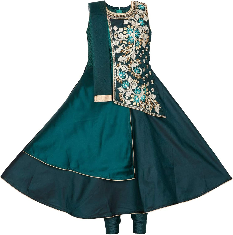 Ashwini Girls Polyester Dark 購買 Embroidery Salwar 格安激安 Green Suit