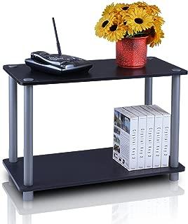 Furinno 11250BK/GY Turn-N 2-Tier No Tools Tube Shelf/End Table, Single, Black/Grey