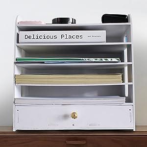Office Supplies Desk File Organizers - Desktop Folders Drawer Mail Paper Document Storage Shelf Accessories Organization Box for Small Business Teacher Classroom and Home Office Women Man