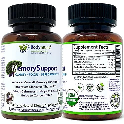 Natural Organic Memory Support Supplement - Ginkgo Biloba Ashwagandha...