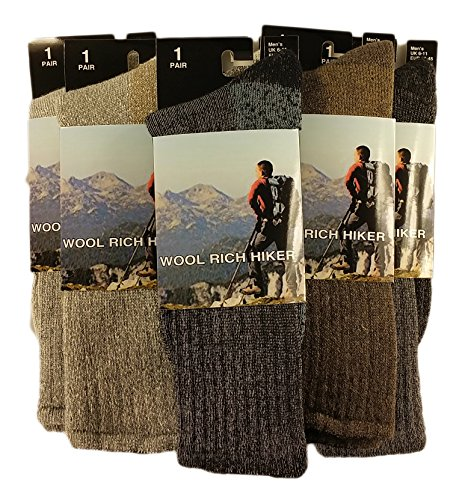 Sock Stack 3 Pairs Of Mens Wool Hike Trekking Socks Thick Chunky Walking Work Boot Sock Outdoor Padded Anti Blister