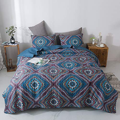 DaDa Bedding Bohemian Native Reversible Bedspread - Rustic Navy Blue Geometric Diamond Shapes - Bright Vibrant Multi-Colorful Quilted Coverlet Set - Cal King Size - 3-Pieces