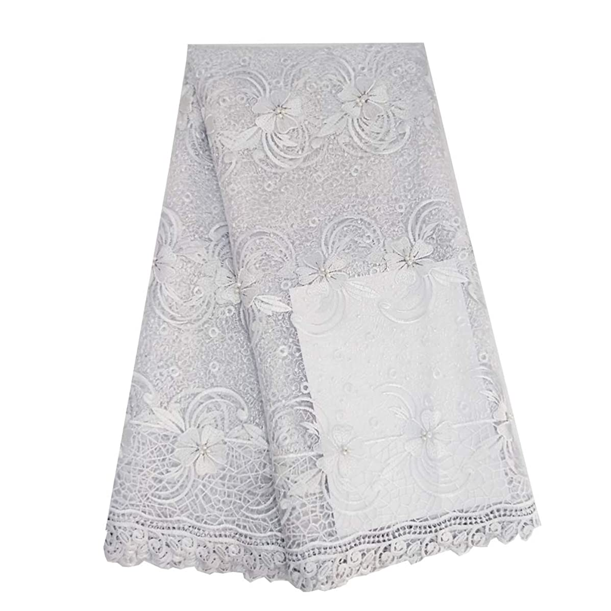 pqdaysun African Lace Fabric Nigerian French Lace Gurpure Lace Net Fabric Embroidered Fabric for Wedding Party F50763 (White, 5 Yards)