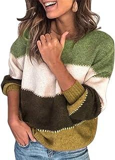 Manera de Las Mujeres suéter Rayado, Otoño Invierno O Cuello suéter Manga Larga, Suelta Jersey de Punto Remiendo Tire Femm...